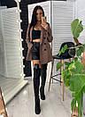Женский двубортный пиджак на подкладе удлиненный 58pk218, фото 5