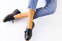 Женские туфли без каблука с кисточкой, черные, материал - натуральная кожа, код FS-3197
