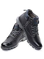 Ботинки зимние мужские. Теплые мужские ботинки. Прошитая подошва. Черные