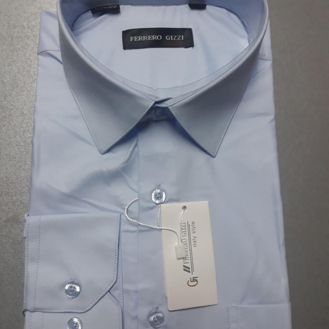 Мужская голубая рубашка Ferrero Gizzi или SeniorCardin (размеры 38,39,40,41,43,44,45,46)