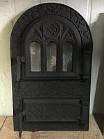 """Дверцы печные, для барбекю """"Черная арка"""" 535х330мм со стеклом. Дверцы для кухни"""