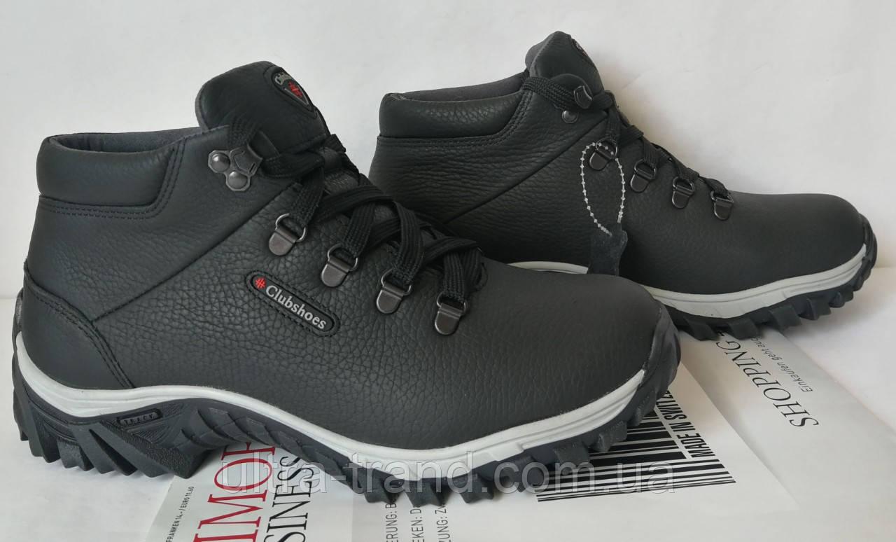 Clubshoes антискольжение new! Зимние кожаные мужские ботинки с мехом на шнурках