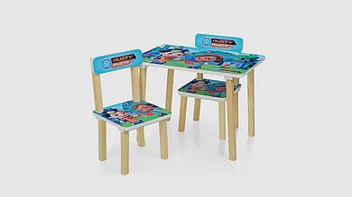 Стол и 2 стульчика.501-50. Деревянные.Rusty Rivets.Голубой