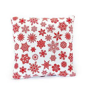Новогодняя подушка декоративная Белая в снежинку 45*45 см новорічна подушка на диван