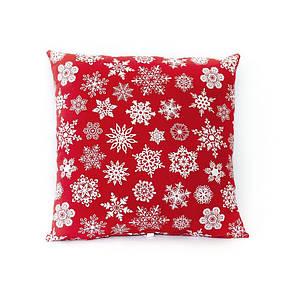 Новогодняя подушка декоративная красная в снежинку 45*45 см новорічна подушка на диван