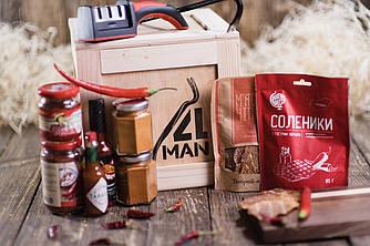 """Ящик 4MAN """"Острый"""". Подарок - набор для любителей острого. Набор острых соусов"""