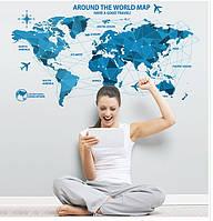 Интерьерная наклейка Карта Мира  (100х55см)