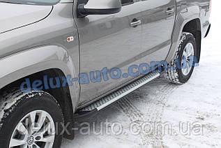 Боковые пороги алюминиевые soma Фольксваген Амарок 2016+ Пороги площадки алюминиевые Volkswagen Amarok