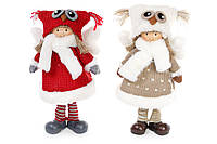 Мягкая новогодняя игрушка Ангел в шапке сова 34см, 2 вида