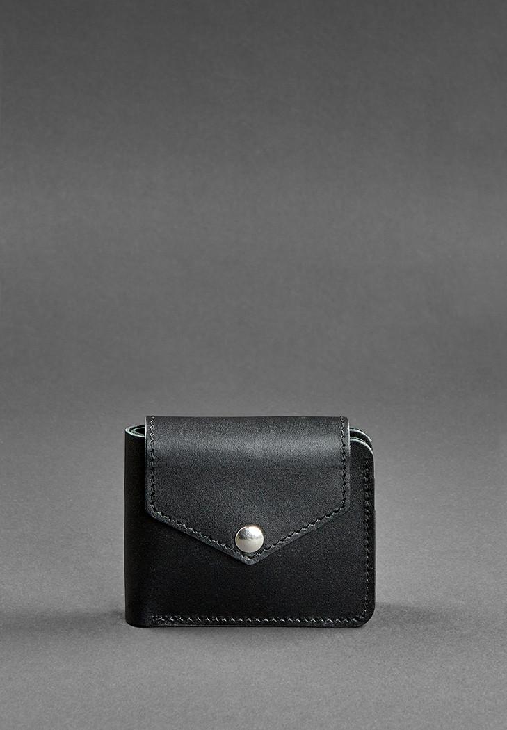 Портмоне женское кожаное с отделением для монет на кнопке. Цвет черный