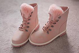 Женские ботинки розовые кожа  мех зима тимберленды Европа  36-41