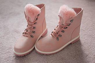 Женские ботинки Тимберленды розовые мех кожа 39-40