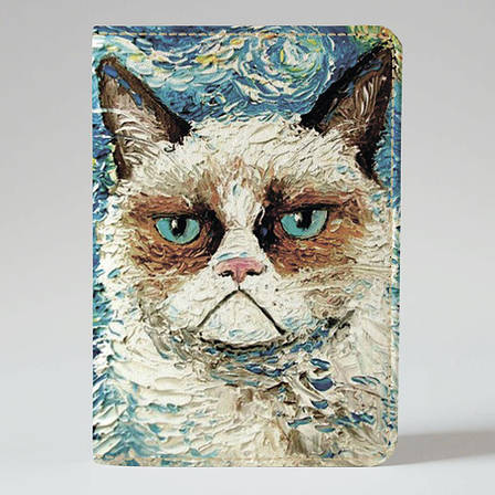 "Обкладинка на паспорт, ""Кіт Ван Гог"", екошкіра, фото 2"