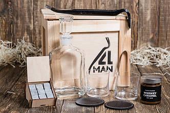 """Ящик 4MAN """"Любитель виски"""". Набор для виски. Мужской подарочный набор акссесуаров для виски"""