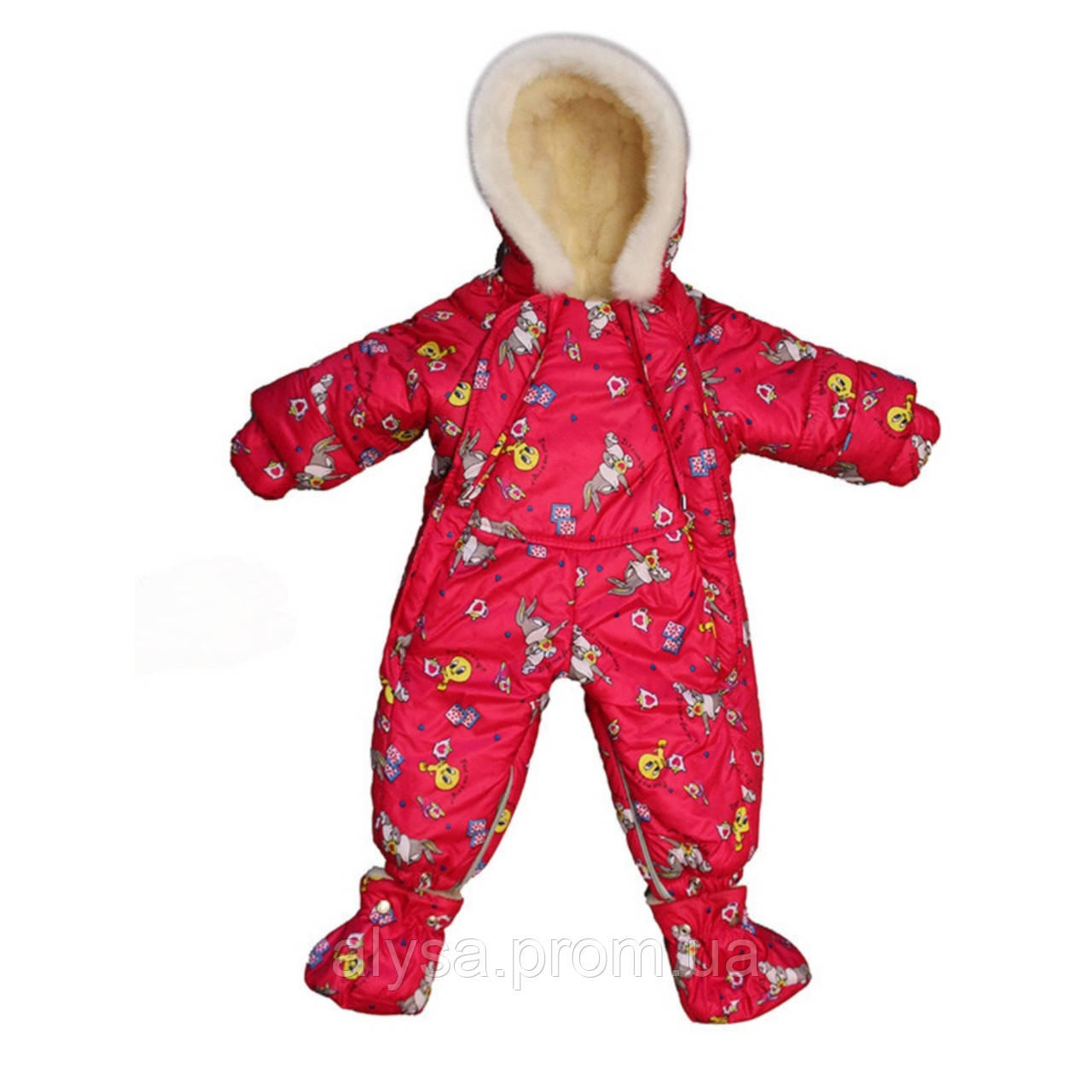 Детский зимний комбинезон-трансформер на овчине для девочки Красный