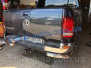 Защита заднего бампера уголкиодинарные D70 Volkswagen Amarok Задние углы никель для Фольксваген Амарок 2016+