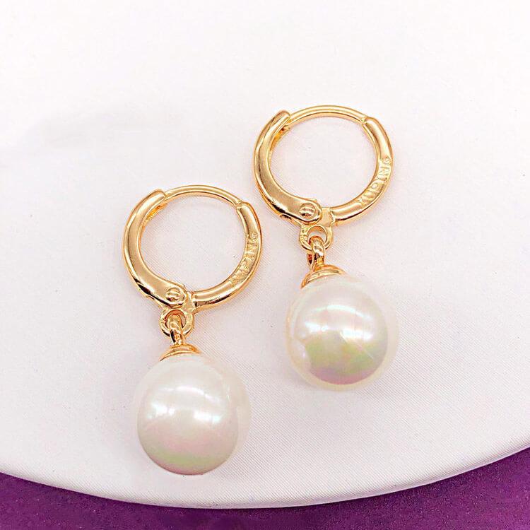 Серьги висюльки Xuping Jewelry с жемчугом медицинское золото, позолота 18К. А/В 4223