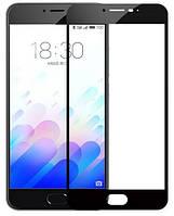 Защитное стекло для Meizu M6 Note ( Мейзу М6 Ноут Ноте ) клеится по всей поверхности черный Full Glue