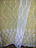 Короткая гардина с красивой вышивкой Турция на метраж и опт Высота 1.6 м, фото 3