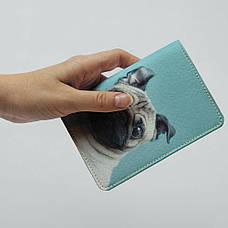 """Обложка на паспорт, """"Мопс с торчащими ушами"""", экокожа, фото 3"""
