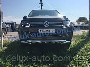 Защита переднего бампера труба с грилем Volkswagen Amarok 2016+ Дуга с клыками никель для Фольксваген Амарок