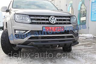 Защита переднего бампера труба с грилем Volkswagen Amarok 2016+ Дуга с клыками черная для Фольксваген Амарок