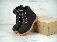 Женские зимние ботинки Тимберленд коричневого цвета, фото 1