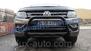 Кенгурятник низкий черный мат на Volkswagen Amarok 2016+ Кенгур низкий черный на Фольксваген Амарок с 2016