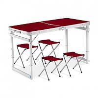 Стол для пикника складной усиленный с регулировкой по высоте 120 х 60 х 55-70 и 4 стульями Коричневый
