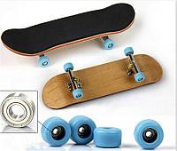 Фингерборд деревянный с подшипниками, синие колеса