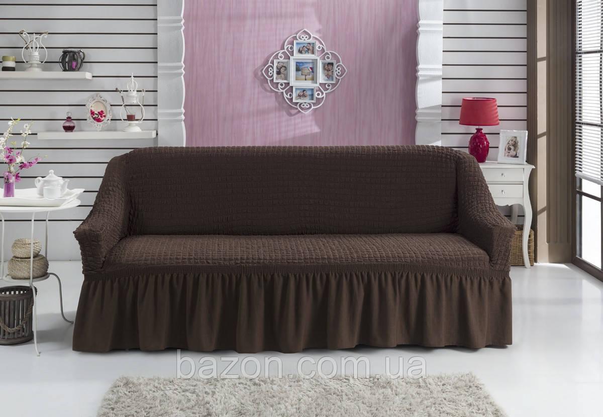Чохол на диван з спідницею Коричневий Home Collection Evibu Туреччина 50055