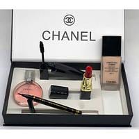 Набор Chanel 5в1 (Духи, Тональный крем, подводка, тушь,помада)
