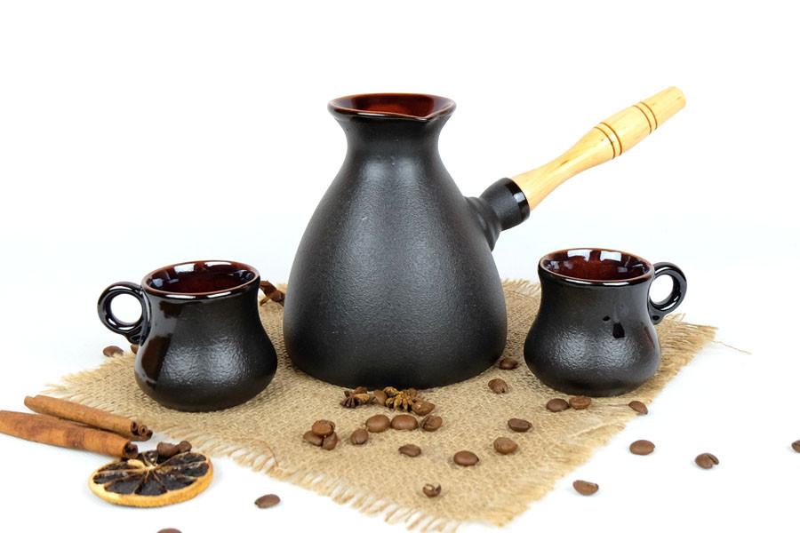Турка Того керамическая с деревянной ручкой и двумя чашками 500 мл