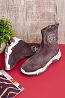 Женские осенние ботинки серые эко-замш, фото 1