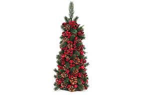 Елка новогодняя настольная с декором из шишек и красных ягод 55см (734-509)