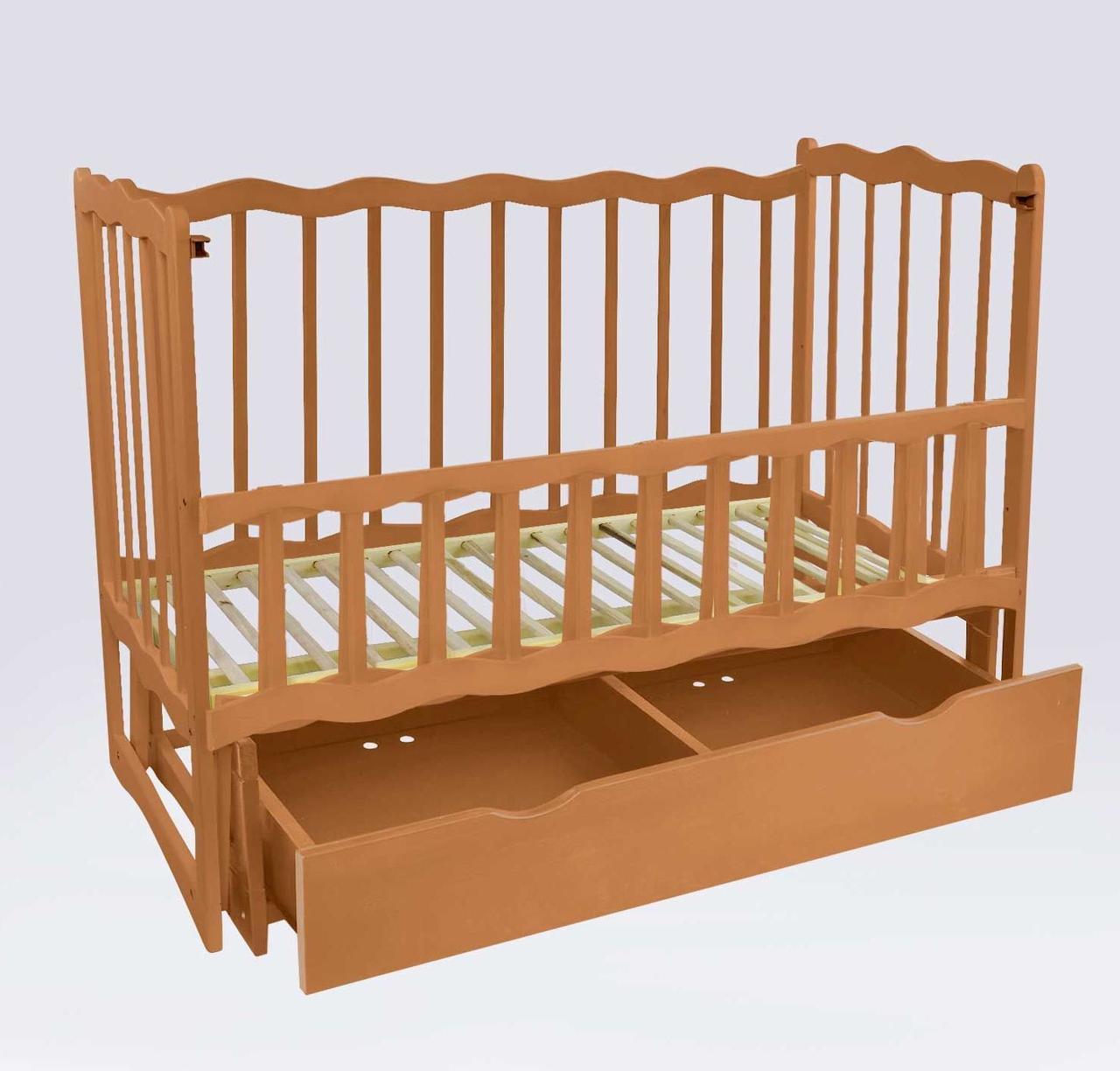 """Кроватка деревян. маятник+шухляда - откидной, """"Волна"""" (1) ольха - цвет светло-коричневый"""