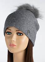 Красивая шапочка с помпоном из енота Виталина цвет стальной