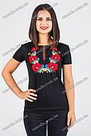 Женская вышитая футболка Маки Васельки черная