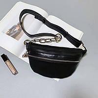 Женская кожаная сумка - бананка через плечо и на пояс