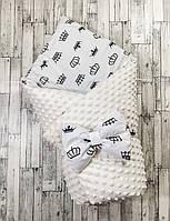 """Зимний двусторонний конверт-плед на выписку """"Kid Way"""" Минки молочный с коронами"""