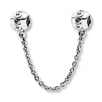Соединительная цепочка «Сердечки» из серебра