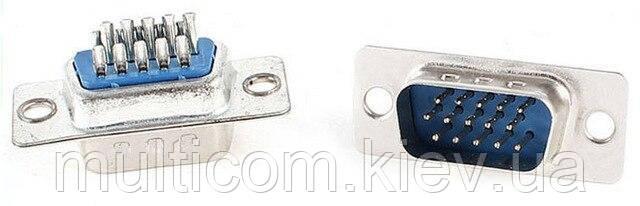 01-05-061. Штекер 15pin (VGA) 3-х рядный под кабель, под пайку