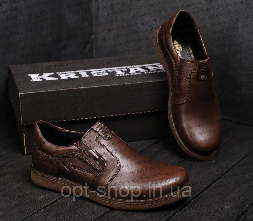 Туфли мужские кожаные на резинке на полную ногу от производителя