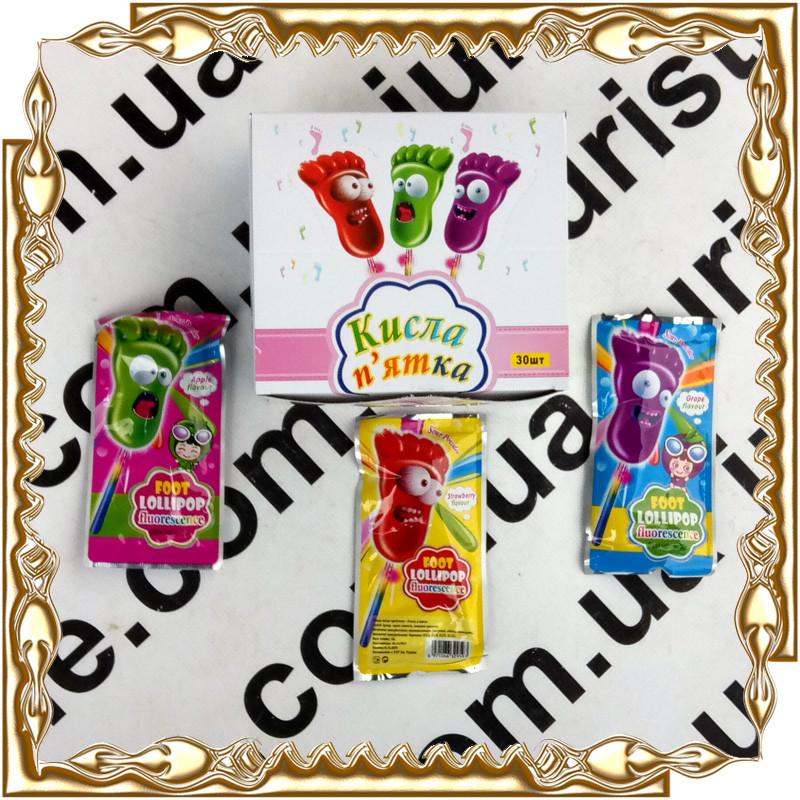 Карамель Кислая Пятка Foot Lollipop + сияющая палочка 10 г. 30 шт./уп.