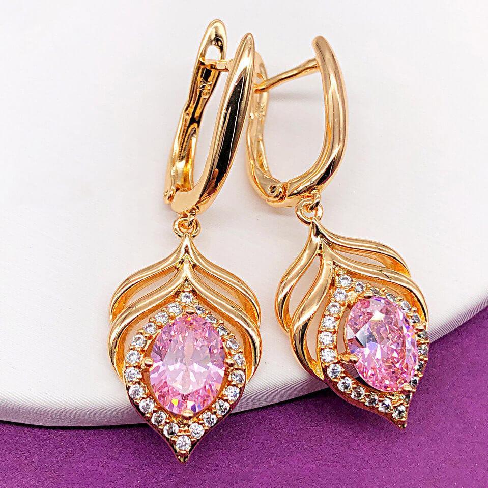 """Серьги Xuping Jewelry """"Лея"""" розовые, медицинское золото позолота 18К, английский замок. А/В 4235"""