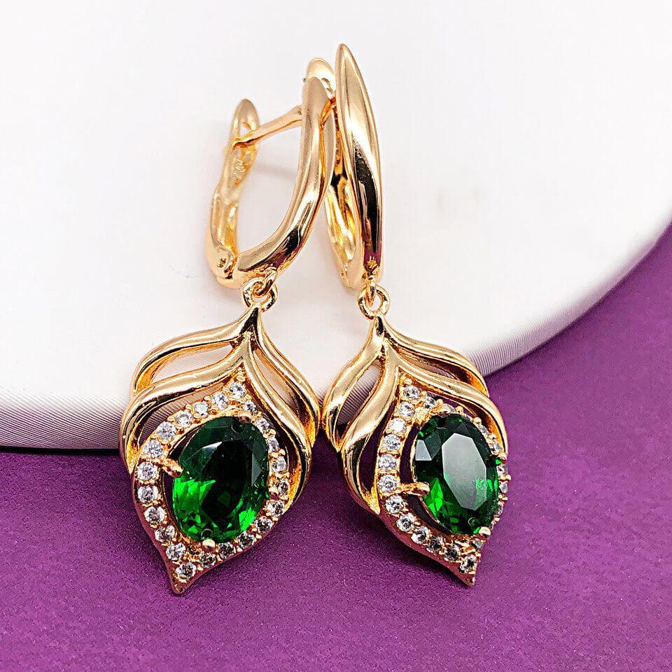 """Серьги Xuping Jewelry """"Лея"""" зеленые, медицинское золото позолота 18К, английский замок. А/В 4236"""