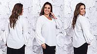 Блузка белая 1255 -Размеры: 42-46, 48-52