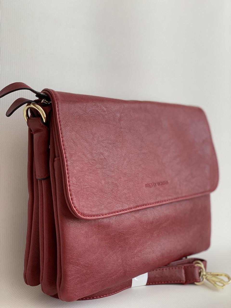 Модная бордовая сумка клатч через плечо Pretty Woman