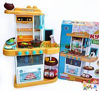 Большая детская игровая кухня 889-151 на 40 предметов, С КРАНА ТЕЧЕТ  ВОДА, ПАР, ЗВУК, СВЕТ (72х51,5х23,5 см.)