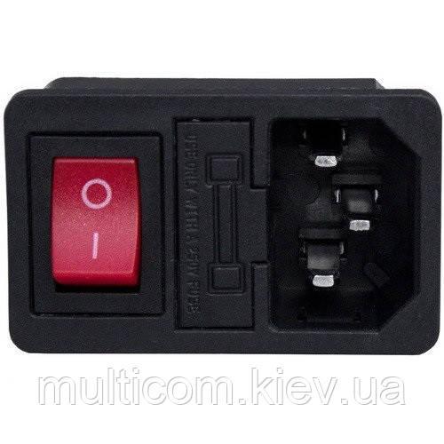 01-13-014. Штекер сетевой IBM 3pin монтажный, с клавишей, с ушами, пластик
